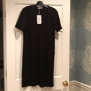 NWT Zara black v neck slip dress